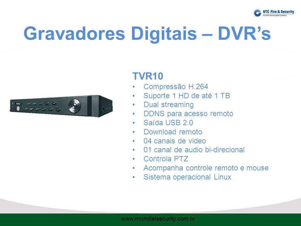 Gravadores Digitais – DVR's TVR10 Compressão H.264 Suporte 1 HD de até 1 TB Dual streaming DDNS para acesso remoto Saída USB 2.0 Download remoto 04 canais de video 01 canal de audio bi-direcional Controla PTZ Acompanha controle remoto e mouse Sistema operacional Linux www.mundialsecurity.com.br