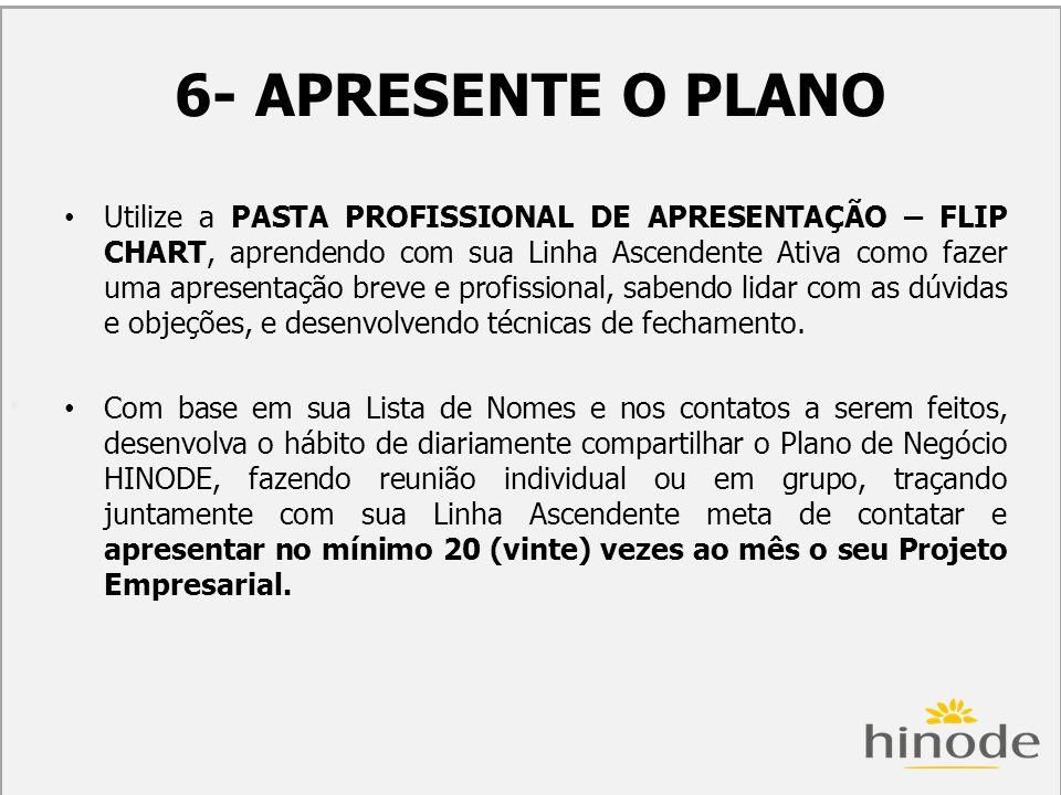 H 6- APRESENTE O PLANO Utilize a PASTA PROFISSIONAL DE APRESENTAÇÃO – FLIP CHART, aprendendo com sua Linha Ascendente Ativa como fazer uma apresentaçã
