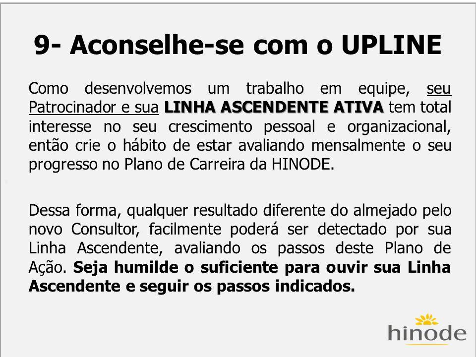 H 9- Aconselhe-se com o UPLINE LINHA ASCENDENTE ATIVA Como desenvolvemos um trabalho em equipe, seu Patrocinador e sua LINHA ASCENDENTE ATIVA tem tota