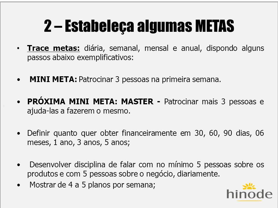H 2 – Estabeleça algumas METAS Trace metas: diária, semanal, mensal e anual, dispondo alguns passos abaixo exemplificativos: MINI META: Patrocinar 3 p