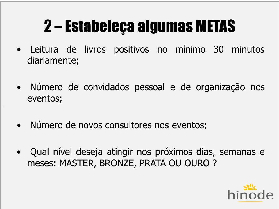 H 2 – Estabeleça algumas METAS Leitura de livros positivos no mínimo 30 minutos diariamente; Número de convidados pessoal e de organização nos eventos