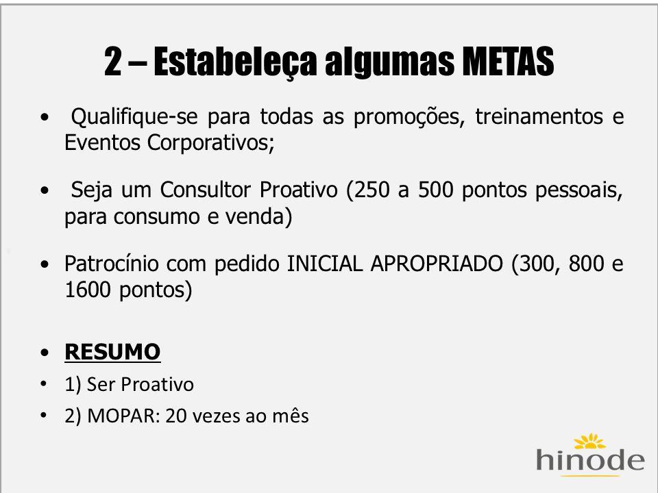 H 2 – Estabeleça algumas METAS Qualifique-se para todas as promoções, treinamentos e Eventos Corporativos; Seja um Consultor Proativo (250 a 500 ponto