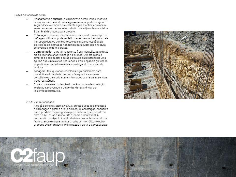 Fases do fabrico do betão: –Doseamento e mistura: os primeiros a serem introduzidos na betoneira são os inertes mais grossos e uma parte da água, segu
