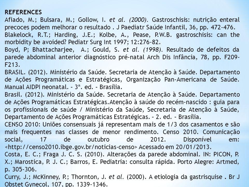 REFERENCES Afiado, M.; Bulsara, M.; Gollow, I.et al.