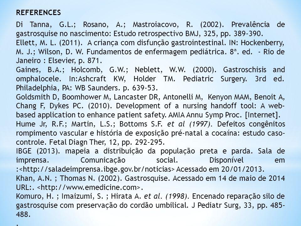 REFERENCES Di Tanna, G.L.; Rosano, A.; Mastroiacovo, R.
