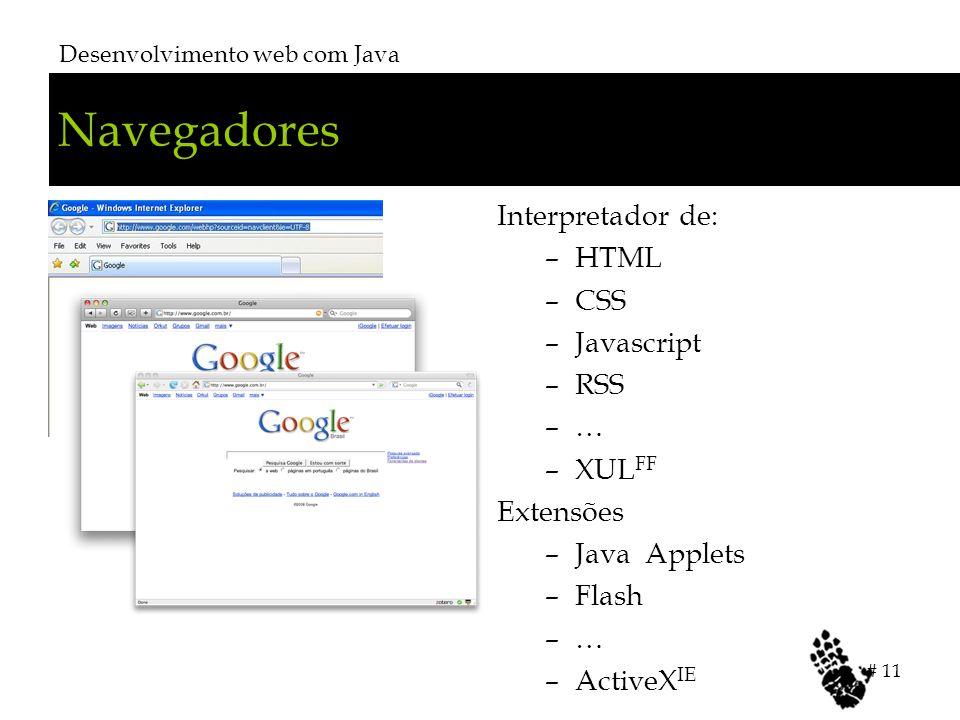 Navegadores Desenvolvimento web com Java # 11 Interpretador de: –HTML –CSS –Javascript –RSS –… –XUL FF Extensões –Java Applets –Flash –… –ActiveX IE