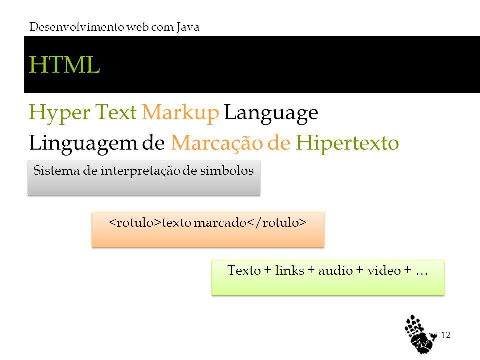 HTML Hyper Text Markup Language Linguagem de Marcação de Hipertexto Desenvolvimento web com Java # 12 Sistema de interpretação de simbolos texto marca