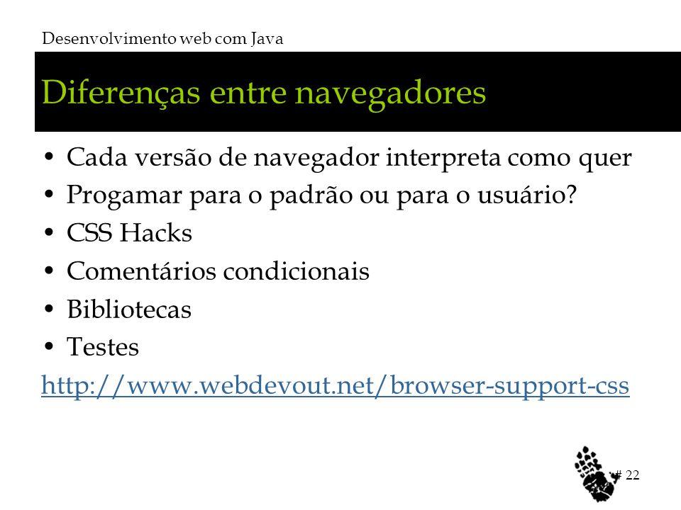 Diferenças entre navegadores Cada versão de navegador interpreta como quer Progamar para o padrão ou para o usuário? CSS Hacks Comentários condicionai