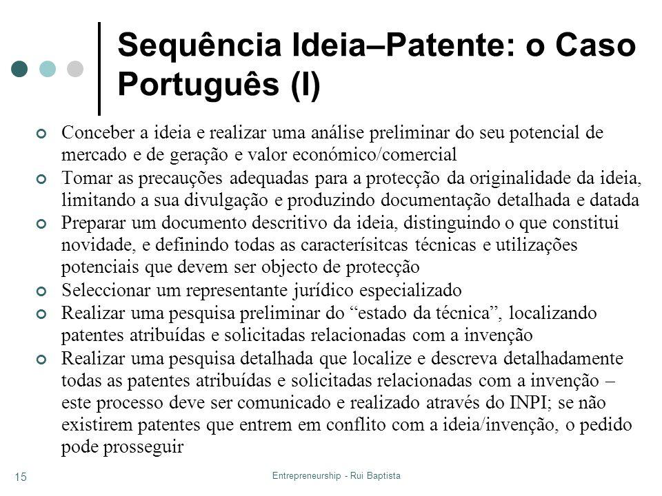 Entrepreneurship - Rui Baptista 15 Sequência Ideia–Patente: o Caso Português (I) Conceber a ideia e realizar uma análise preliminar do seu potencial d