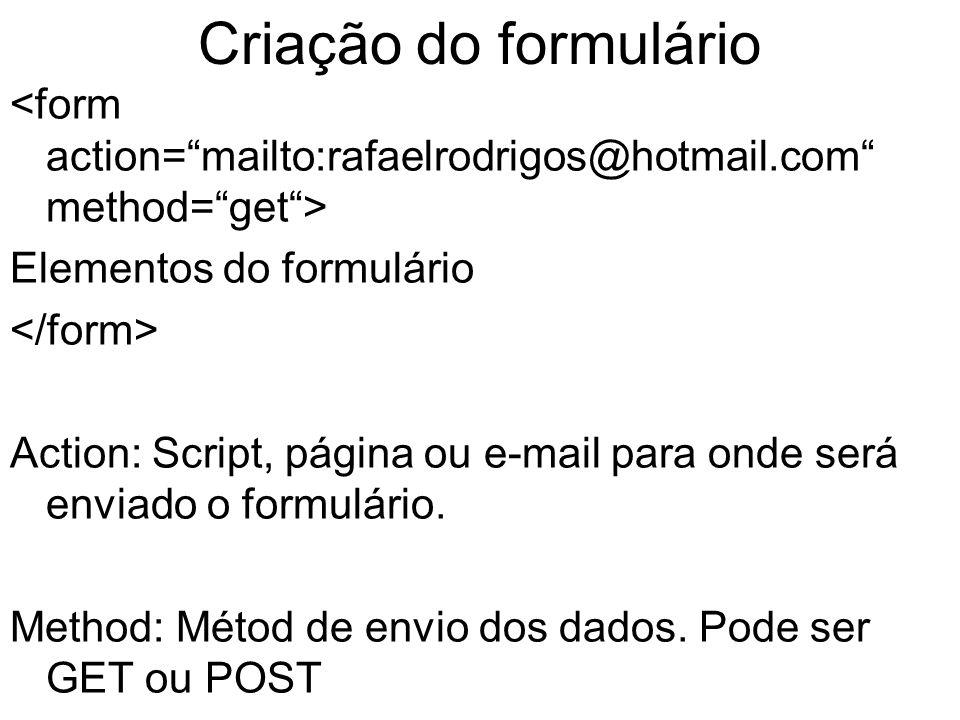Criação do formulário Elementos do formulário Action: Script, página ou e-mail para onde será enviado o formulário.