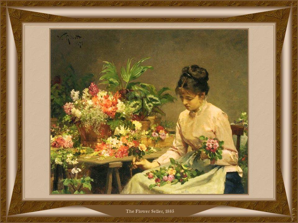 Picking FlowersJeune Femme dans le Jardin Fleuri, 1885