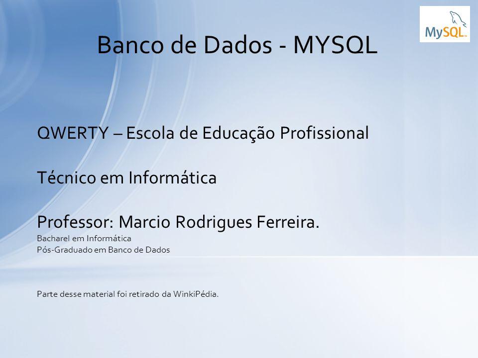 QWERTY – Escola de Educação Profissional Técnico em Informática Professor: Marcio Rodrigues Ferreira. Bacharel em Informática Pós-Graduado em Banco de