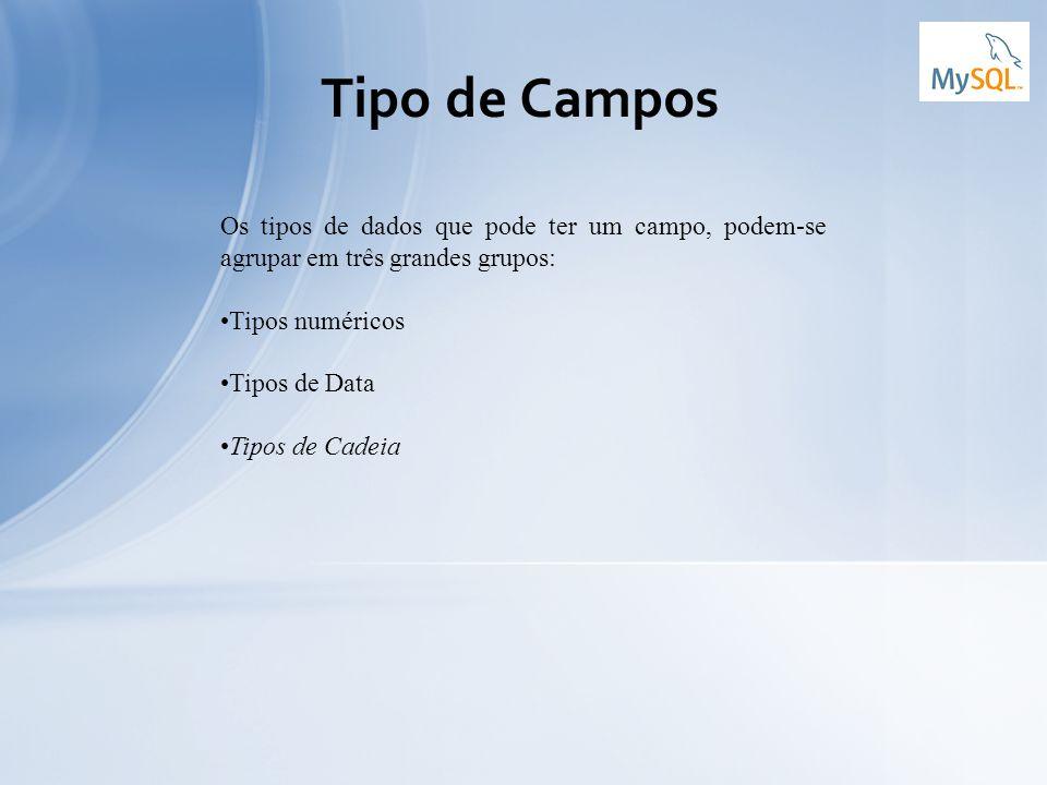 Tipo de Campos Os tipos de dados que pode ter um campo, podem-se agrupar em três grandes grupos: Tipos numéricos Tipos de Data Tipos de Cadeia