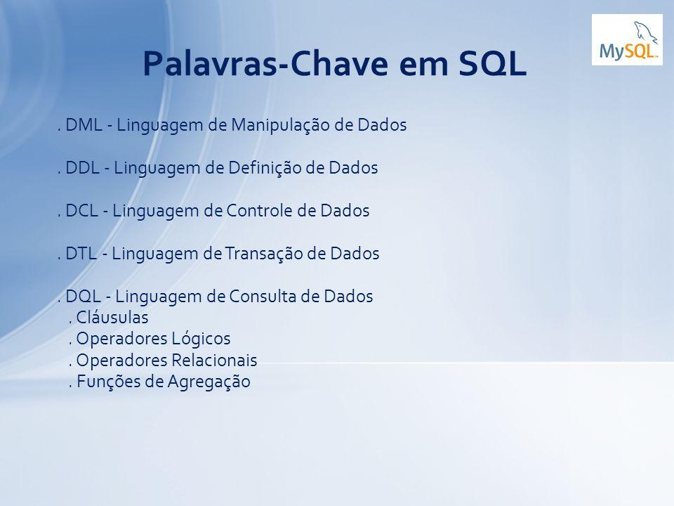 Palavras-Chave em SQL. DML - Linguagem de Manipulação de Dados. DDL - Linguagem de Definição de Dados. DCL - Linguagem de Controle de Dados. DTL - Lin
