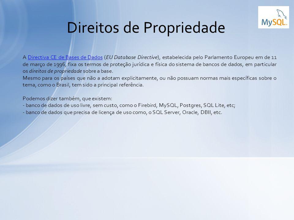 A Directiva CE de Bases de Dados (EU Database Directive), estabelecida pelo Parlamento Europeu em de 11 de março de 1996, fixa os termos de proteção j