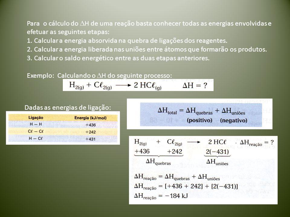 Para o cálculo do  H de uma reação basta conhecer todas as energias envolvidas e efetuar as seguintes etapas: 1. Calcular a energia absorvida na queb