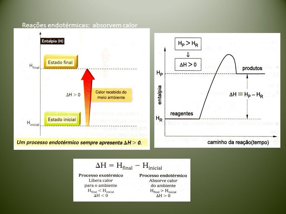 Reações endotérmicas: absorvem calor