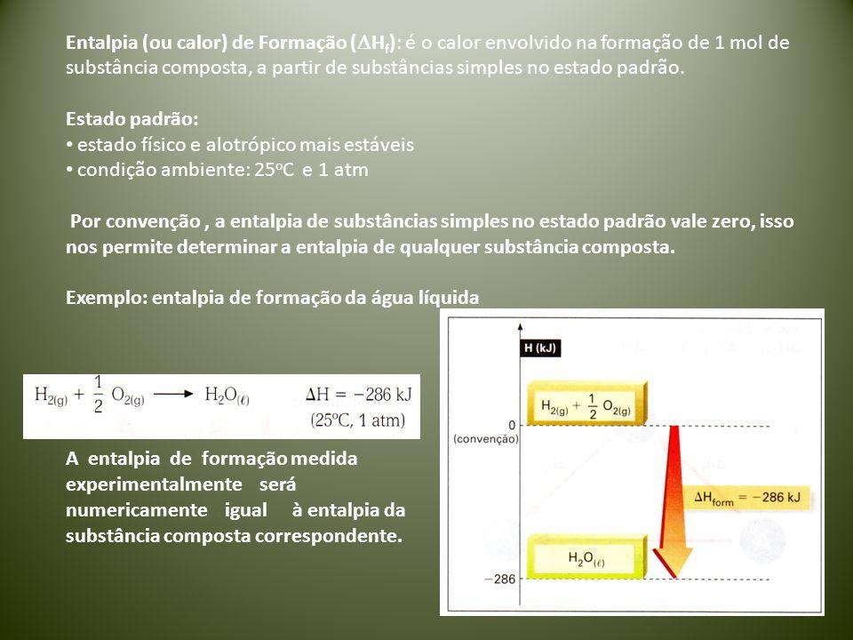 Entalpia (ou calor) de Formação (  H f ): é o calor envolvido na formação de 1 mol de substância composta, a partir de substâncias simples no estado