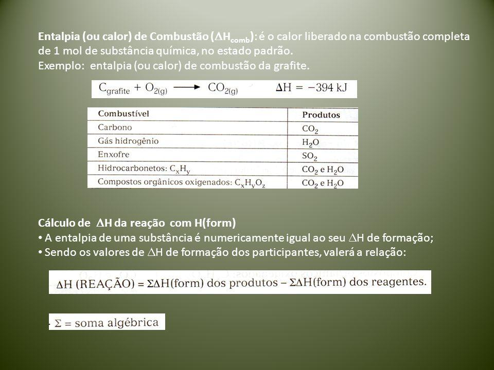 Entalpia (ou calor) de Combustão (  H comb ): é o calor liberado na combustão completa de 1 mol de substância química, no estado padrão. Exemplo: ent
