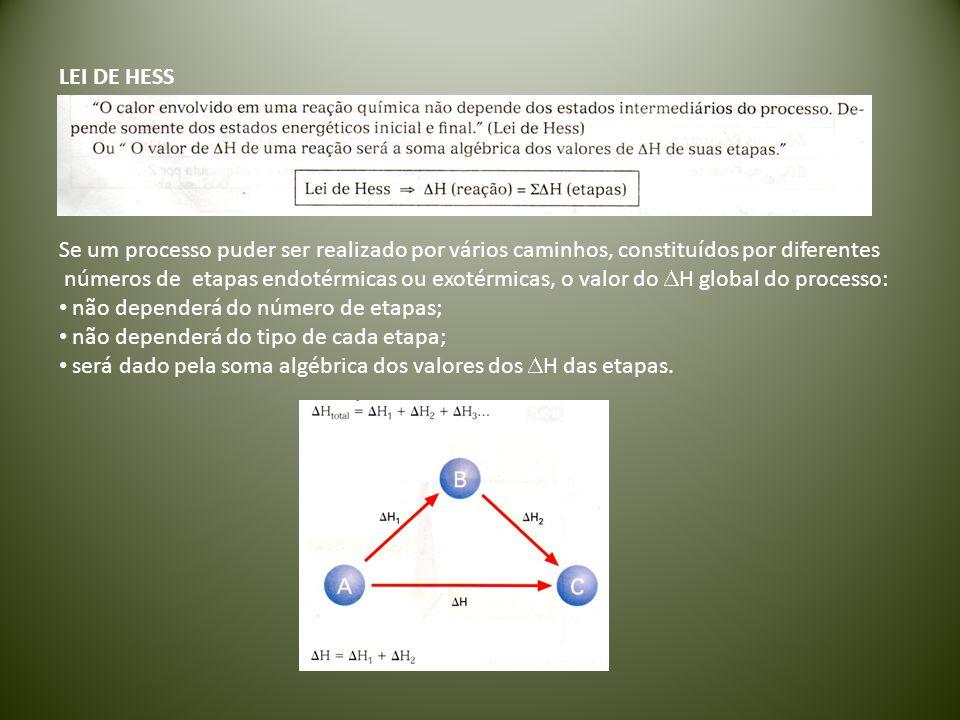 LEI DE HESS Se um processo puder ser realizado por vários caminhos, constituídos por diferentes números de etapas endotérmicas ou exotérmicas, o valor