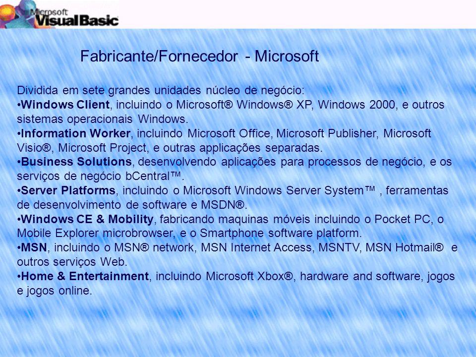 Fabricante/Fornecedor - Microsoft Dividida em sete grandes unidades núcleo de negócio: Windows Client, incluindo o Microsoft® Windows® XP, Windows 2000, e outros sistemas operacionais Windows.