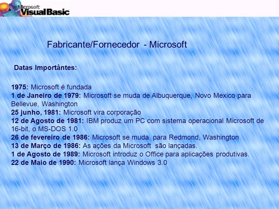Fabricante/Fornecedor - Microsoft 1975: Microsoft é fundada 1 de Janeiro de 1979: Microsoft se muda de Albuquerque, Novo Mexico para Bellevue, Washington 25 junho, 1981: Microsoft vira corporação 12 de Agosto de 1981: IBM produz um PC com sistema operacional Microsoft de 16-bit, o MS-DOS 1.0 26 de fevereiro de 1986: Microsoft se muda para Redmond, Washington 13 de Março de 1986: As ações da Microsoft são lançadas.