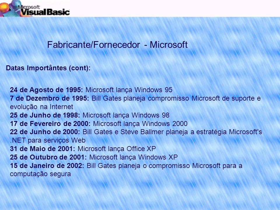 Fabricante/Fornecedor - Microsoft Datas Importântes (cont): 24 de Agosto de 1995: Microsoft lança Windows 95 7 de Dezembro de 1995: Bill Gates planeja compromisso Microsoft de suporte e evolução na Internet 25 de Junho de 1998: Microsoft lança Windows 98 17 de Fevereiro de 2000: Microsoft lança Windows 2000 22 de Junho de 2000: Bill Gates e Steve Ballmer planeja a estratégia Microsoft s.NET para serviços Web 31 de Maio de 2001: Microsoft lança Office XP 25 de Outubro de 2001: Microsoft lança Windows XP 15 de Janeiro de 2002: Bill Gates planeja o compromisso Microsoft para a computação segura
