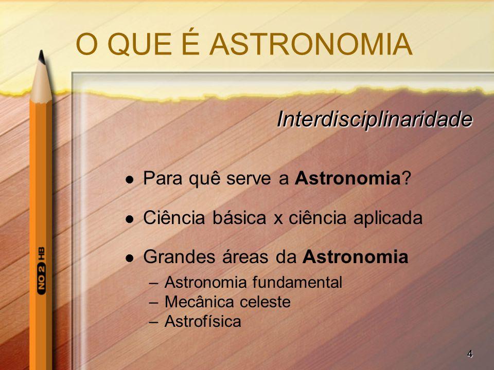 4 O QUE É ASTRONOMIA Interdisciplinaridade Para quê serve a Astronomia? Ciência básica x ciência aplicada Grandes áreas da Astronomia –Astronomia fund