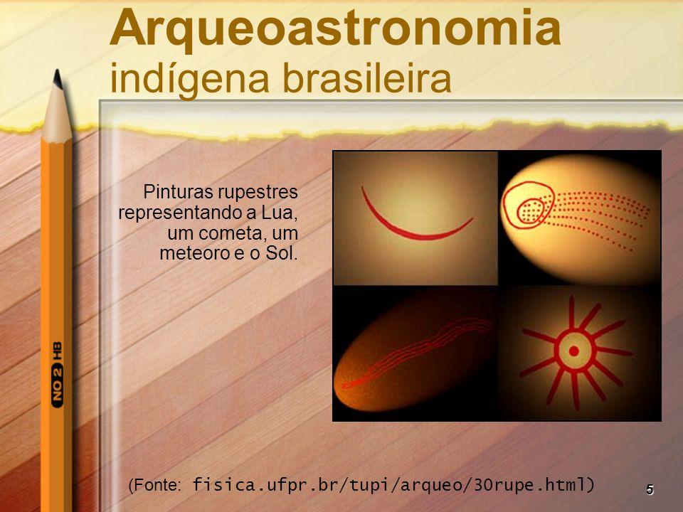 5 Arqueoastronomia indígena brasileira Pinturas rupestres representando a Lua, um cometa, um meteoro e o Sol. (Fonte: fisica.ufpr.br/tupi/arqueo/30rup