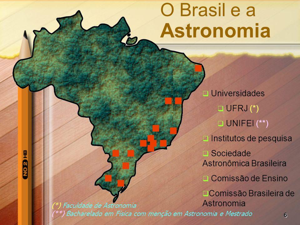 6 O Brasil e a Astronomia  Universidades  UFRJ (*)  UNIFEI (**)  Institutos de pesquisa  Sociedade Astronômica Brasileira  Comissão de Ensino 