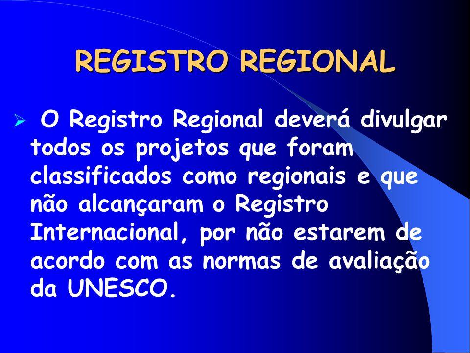 REGISTRO REGIONAL  O Registro Regional deverá divulgar todos os projetos que foram classificados como regionais e que não alcançaram o Registro Inter