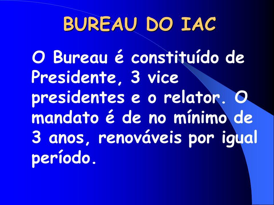 BUREAU DO IAC O Bureau é constituído de Presidente, 3 vice presidentes e o relator. O mandato é de no mínimo de 3 anos, renováveis por igual período.