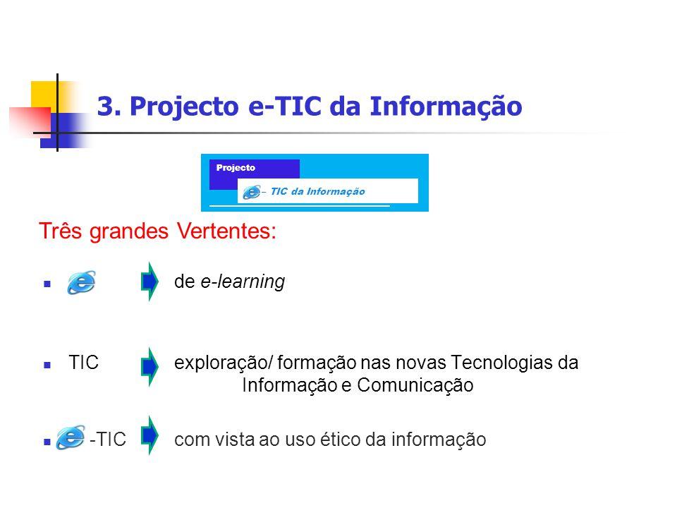 3. Projecto e-TIC da Informação de e-learning TIC exploração/ formação nas novas Tecnologias da Informação e Comunicação -TICcom vista ao uso ético da