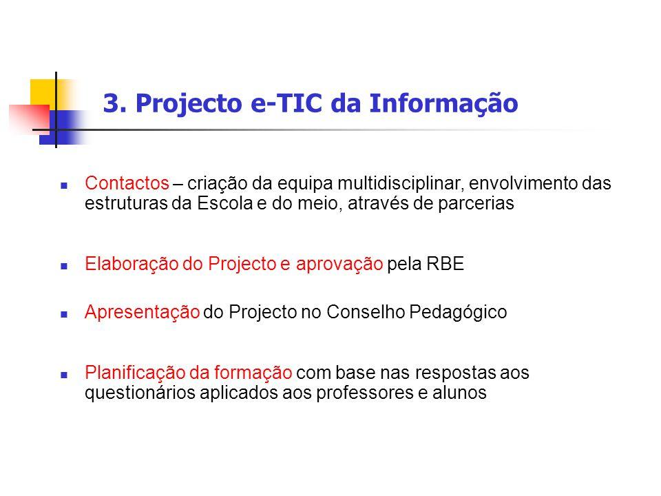 3. Projecto e-TIC da Informação Contactos – criação da equipa multidisciplinar, envolvimento das estruturas da Escola e do meio, através de parcerias