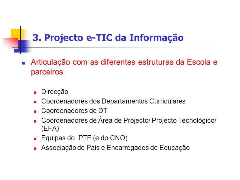 3. Projecto e-TIC da Informação Articulação com as diferentes estruturas da Escola e parceiros : Direcção Coordenadores dos Departamentos Curriculares