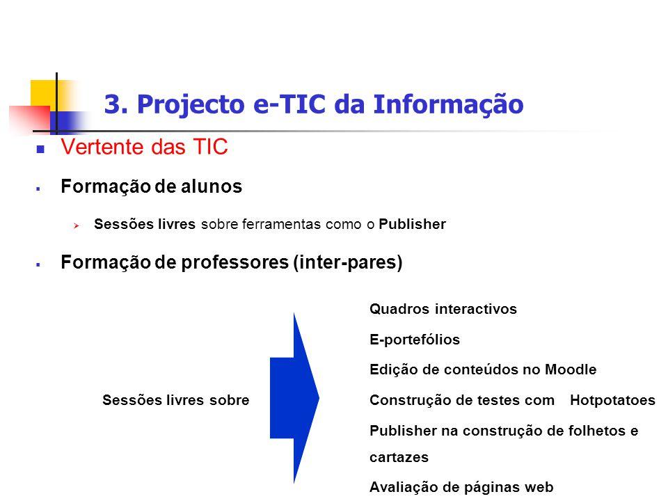 3. Projecto e-TIC da Informação Vertente das TIC  Formação de alunos  Sessões livres sobre ferramentas como o Publisher  Formação de professores (i