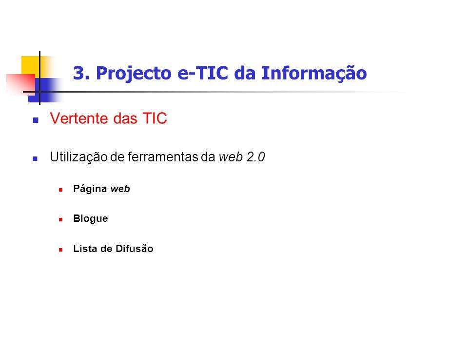 3. Projecto e-TIC da Informação Vertente das TIC Utilização de ferramentas da web 2.0 Página web Blogue Lista de Difusão