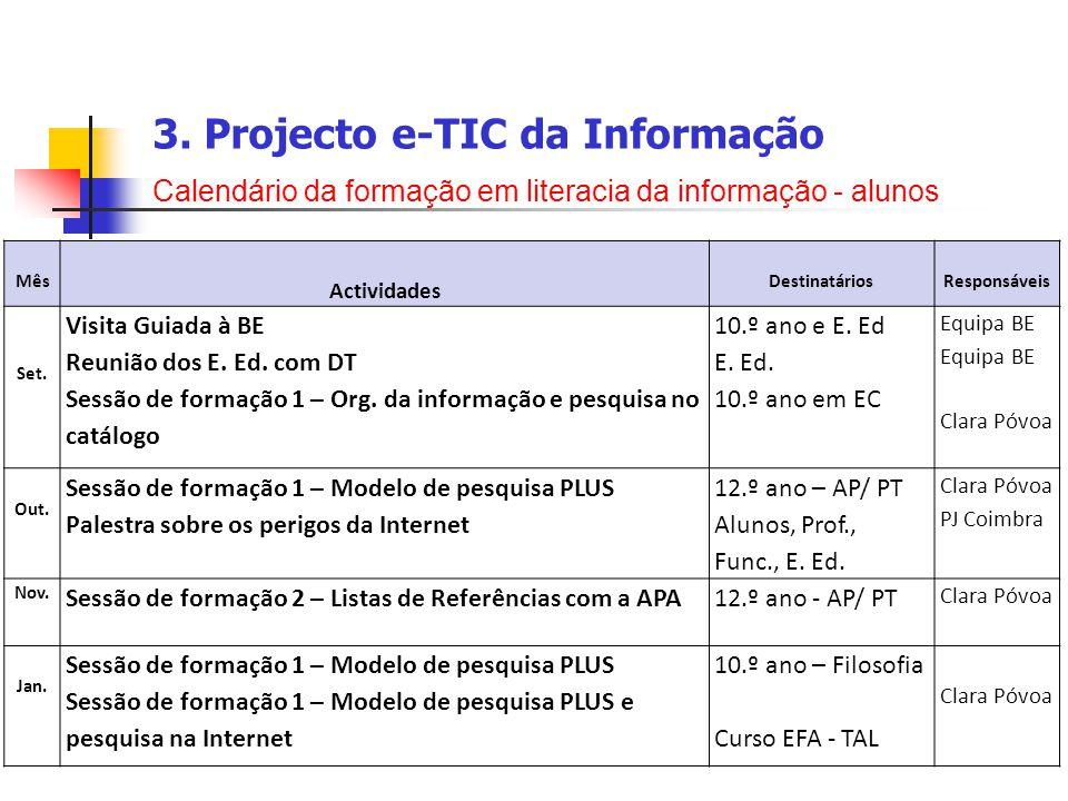 3. Projecto e-TIC da Informação Calendário da formação em literacia da informação - alunos Mês Actividades DestinatáriosResponsáveis Set. Visita Guiad