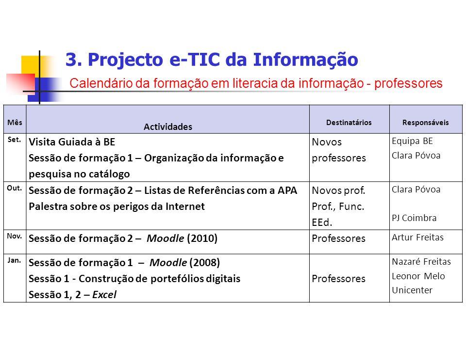 3. Projecto e-TIC da Informação Calendário da formação em literacia da informação - professores Mês Actividades DestinatáriosResponsáveis Set. Visita