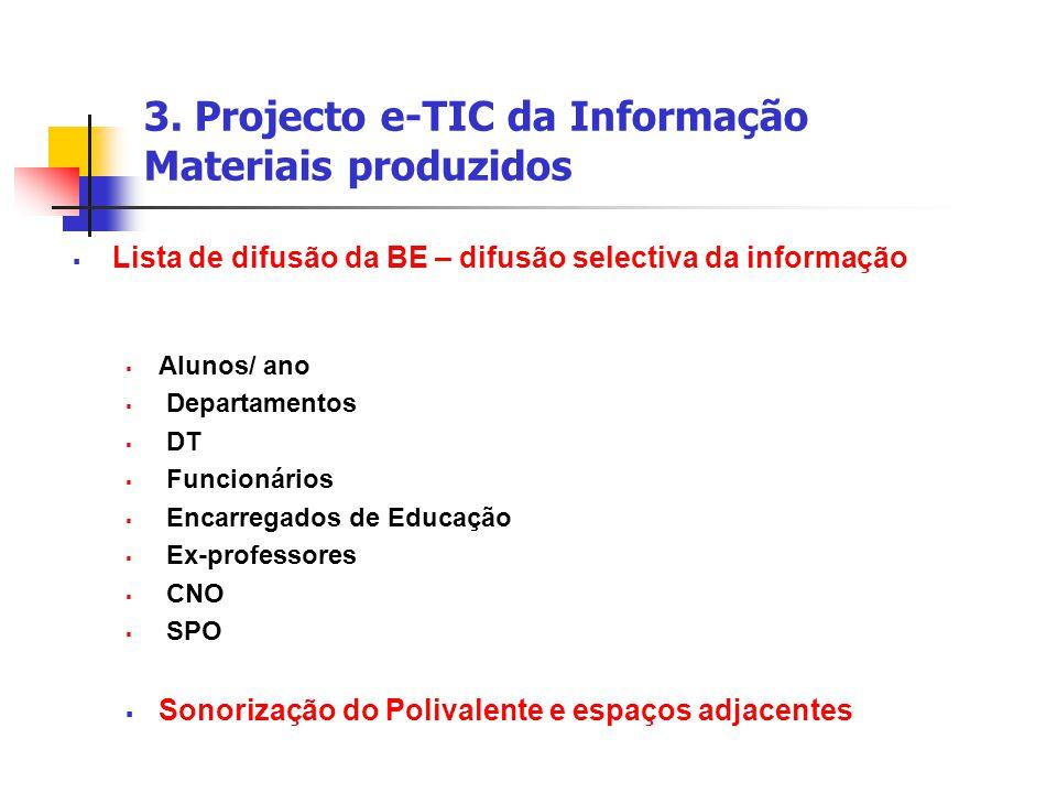 3. Projecto e-TIC da Informação Materiais produzidos  Lista de difusão da BE – difusão selectiva da informação  Alunos/ ano  Departamentos  DT  F