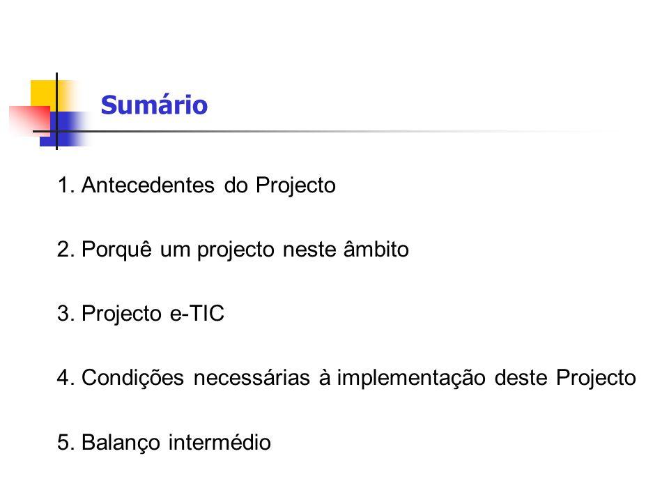 Sumário 1. Antecedentes do Projecto 2. Porquê um projecto neste âmbito 3. Projecto e-TIC 4. Condições necessárias à implementação deste Projecto 5. Ba