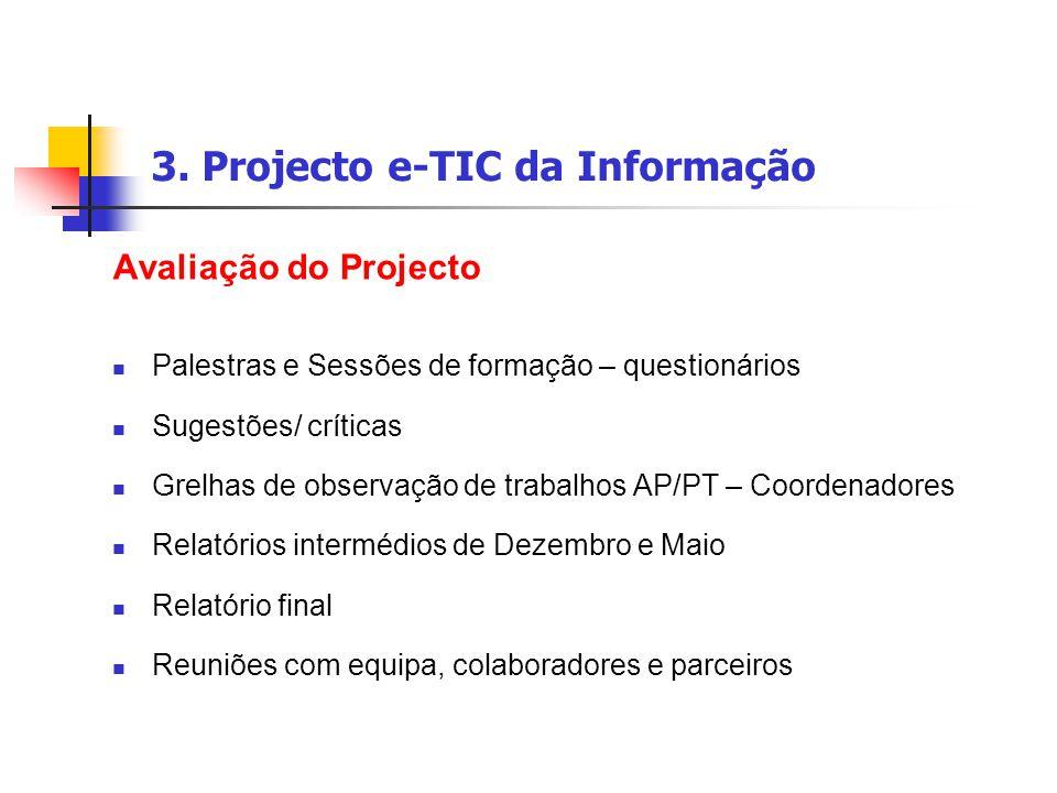 3. Projecto e-TIC da Informação Avaliação do Projecto Palestras e Sessões de formação – questionários Sugestões/ críticas Grelhas de observação de tra