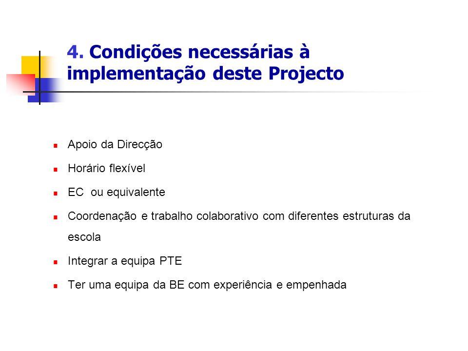 4. Condições necessárias à implementação deste Projecto Apoio da Direcção Horário flexível EC ou equivalente Coordenação e trabalho colaborativo com d
