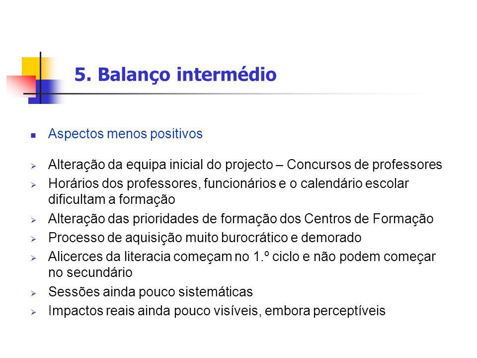 5. Balanço intermédio Aspectos menos positivos  Alteração da equipa inicial do projecto – Concursos de professores  Horários dos professores, funcio