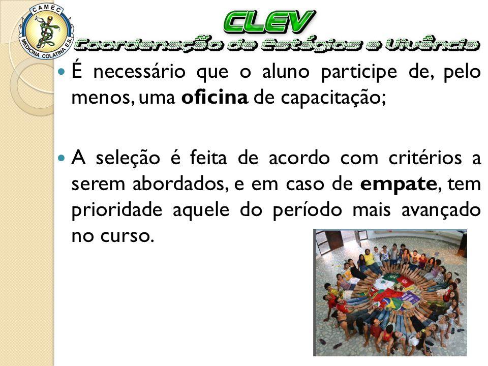 Taxas Para entrar no processo é requerida uma taxa de R$ 40,00 que deve ser paga na CLEV; Quando o estudante é selecionado e confirma o estágio, uma taxa de R$ 230,00 é paga.