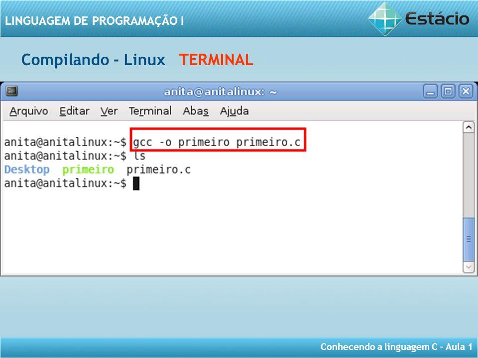 Conhecendo a linguagem C – Aula 1 LINGUAGEM DE PROGRAMAÇÃO I Compilando - Linux TERMINAL
