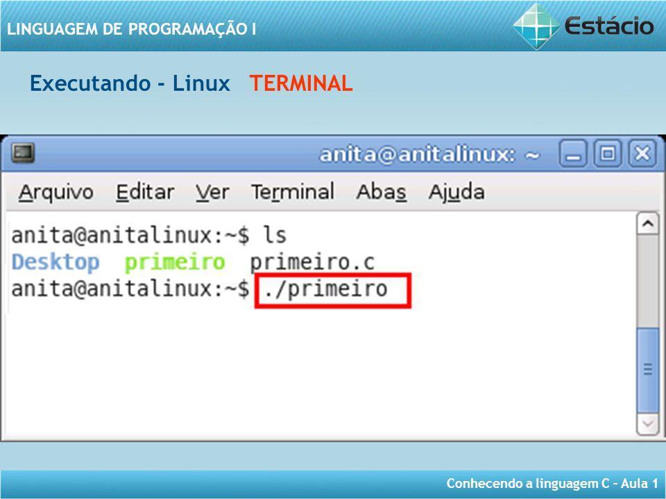 Conhecendo a linguagem C – Aula 1 LINGUAGEM DE PROGRAMAÇÃO I Executando - Linux TERMINAL