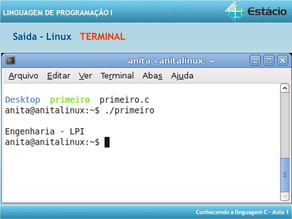 Conhecendo a linguagem C – Aula 1 LINGUAGEM DE PROGRAMAÇÃO I Saída - Linux TERMINAL