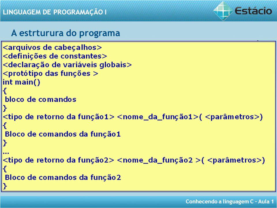 Conhecendo a linguagem C – Aula 1 LINGUAGEM DE PROGRAMAÇÃO I A estrturura do programa