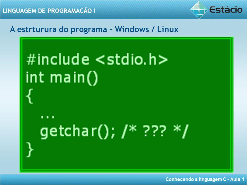 Conhecendo a linguagem C – Aula 1 LINGUAGEM DE PROGRAMAÇÃO I A estrturura do programa – Windows / Linux